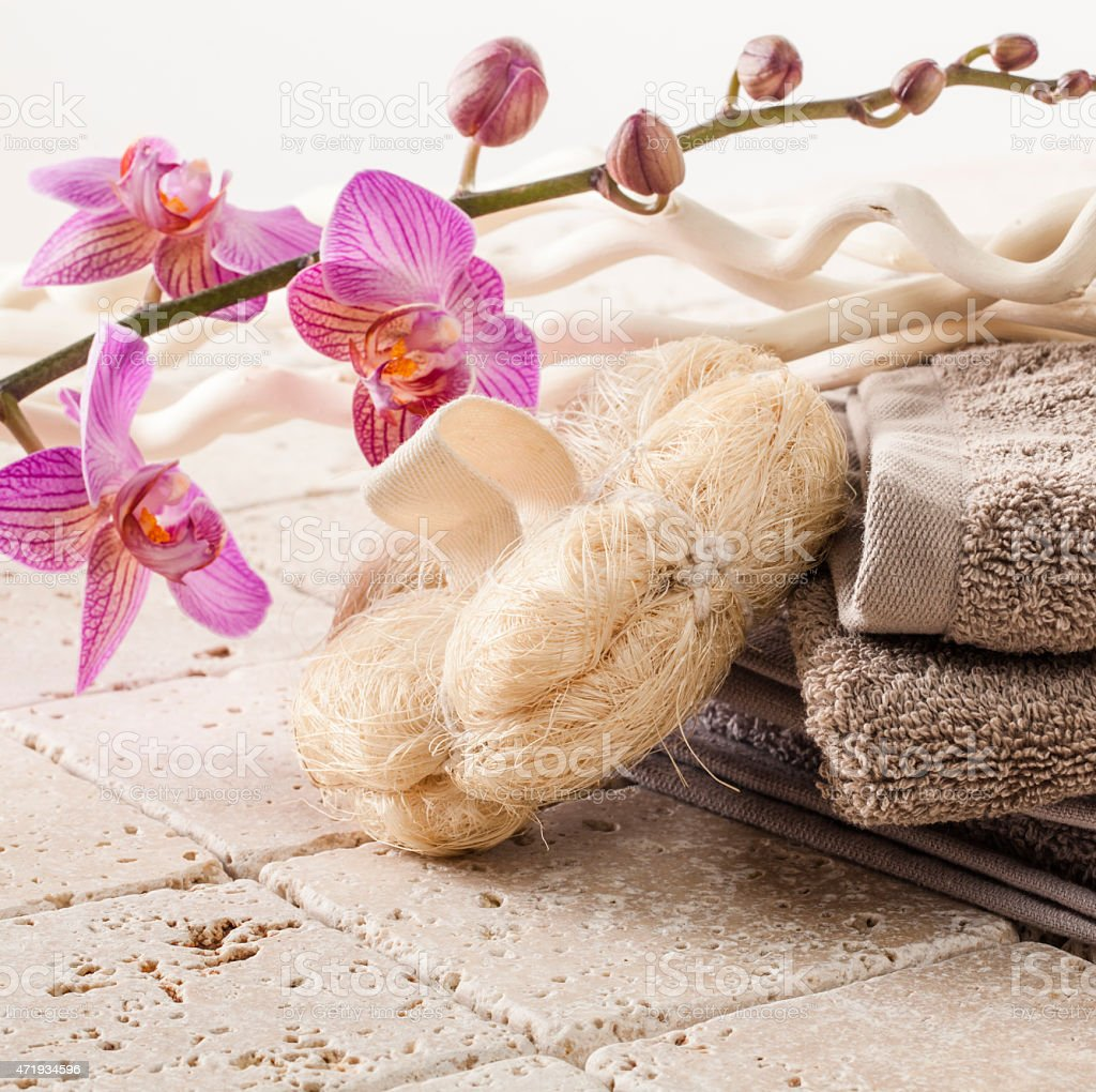 cotton towel and loofah sponge for beauty massage stock photo