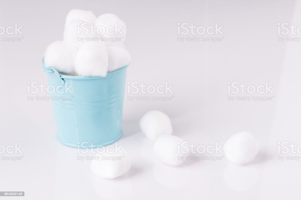 Cotton wool on white background stock photo