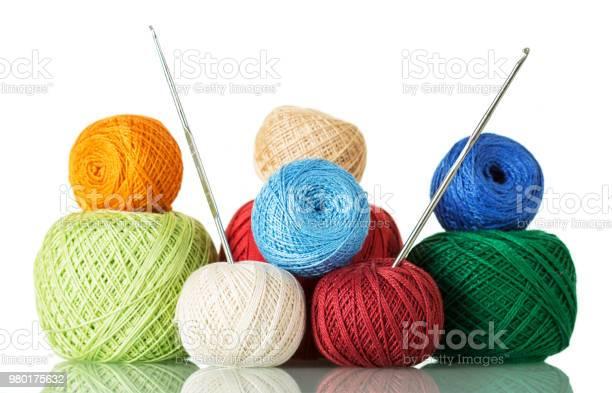 Cotton yarn balls of different shades and crochet hooks isolated on picture id980175632?b=1&k=6&m=980175632&s=612x612&h=ev7p5mkoezujiqo35a4pi7m5 vtc0feu36eqzikoolu=