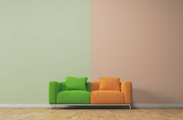 Couch concept with pastel colors stock photo
