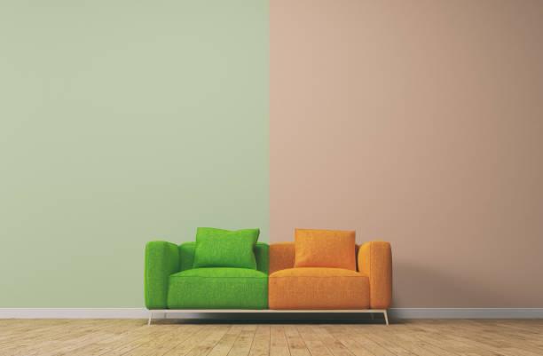 conceito de sofá com cores pastel - despedida - fotografias e filmes do acervo