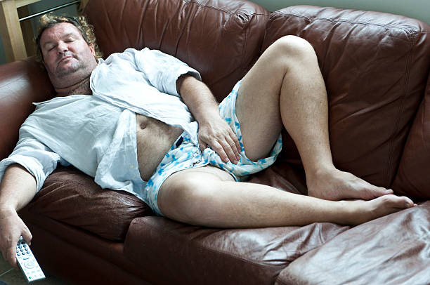 couch potato - underwear stock photos and pictures