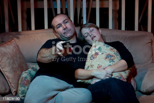 istock Couch Potatoe Couple Chanel Surfing 115028130