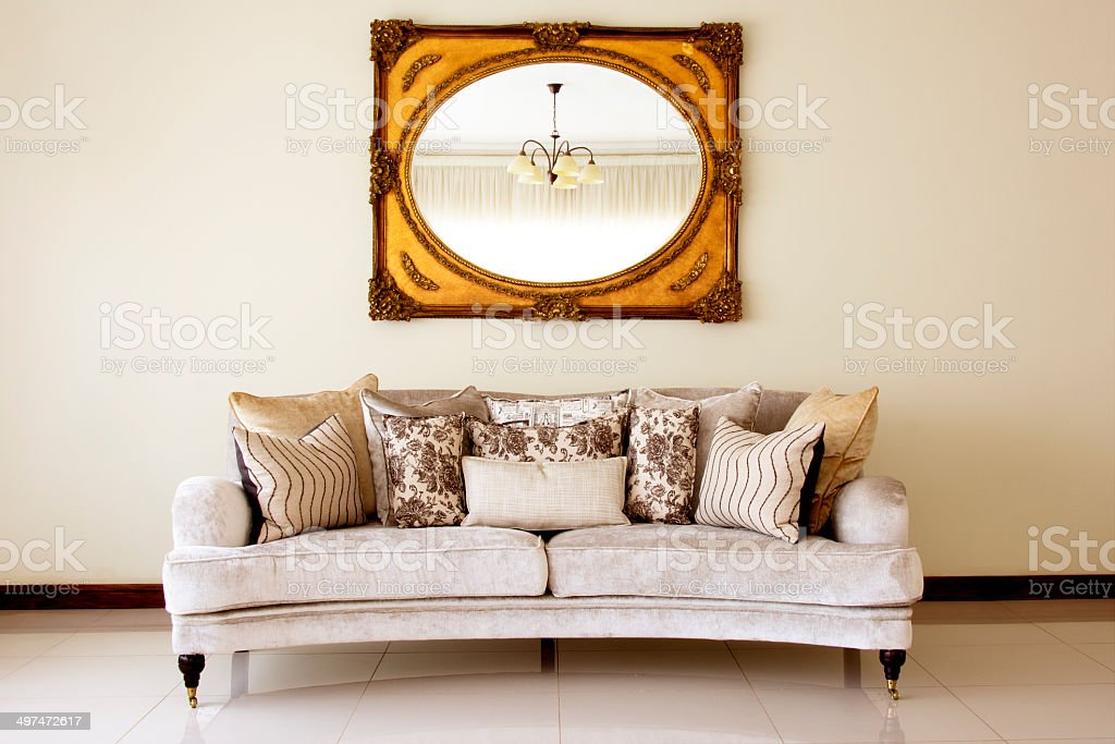Couch with Mirror stock photo