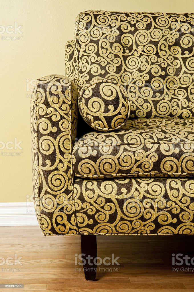 Couch With Patterned Fabric royalty-free stock photo