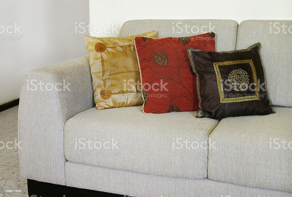 Couch with pillows stock photo