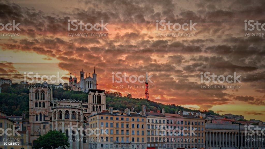 Coucher de soleil sur Lyon stock photo