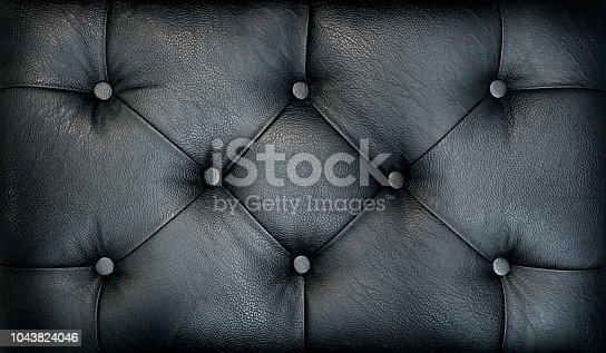 Couch-type screed. Retro dark chesterfield style quilted upholstery backdrop close up. Black capitone pattern texture background