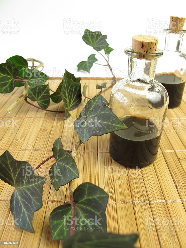 Cough mixture with ivy stock photo