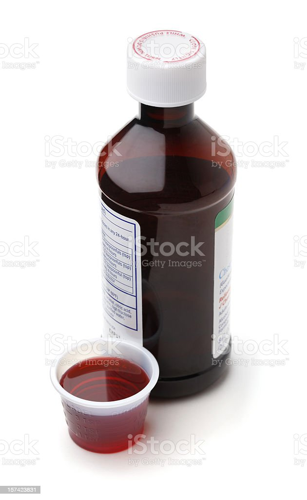 Cough Syrup or Cold Medicine stock photo