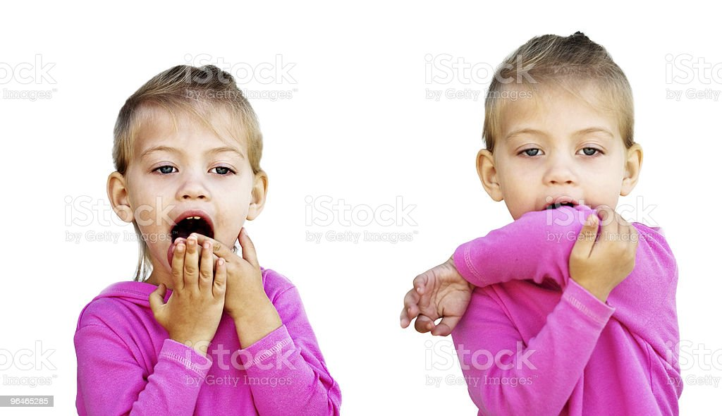 Coughing into hands and elbow royalty-free stock photo