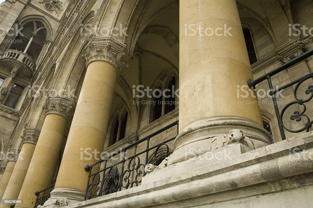 Coulmns in historical town hall stock photo