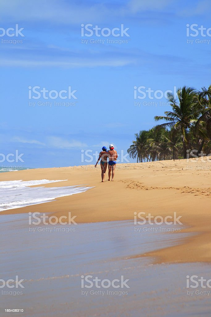 Coulple walking in Tropical beach (Brazil) royalty-free stock photo