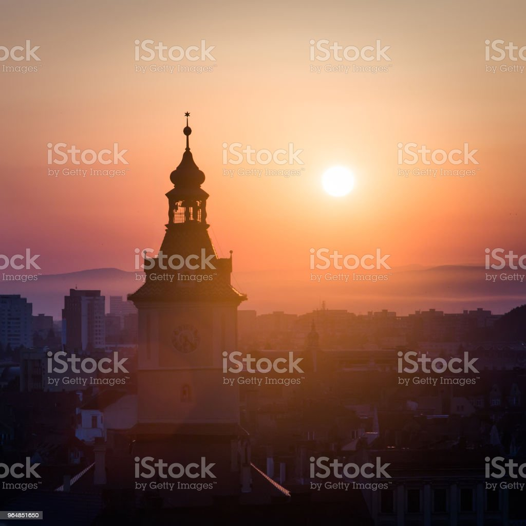 Council hall tower sunrise scenic view royalty-free stock photo