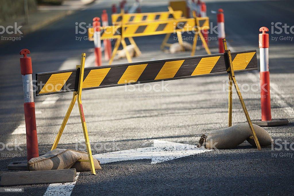Council road blocks stock photo