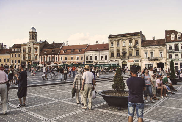 Council Square in the city of Brasov stock photo