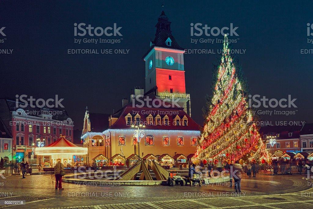 Council Square on Christmas, Brasov, Romania stock photo