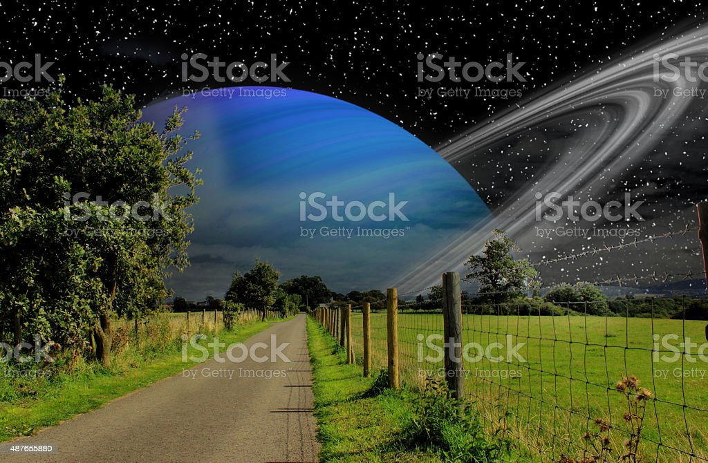 counrty walk on another world. stock photo