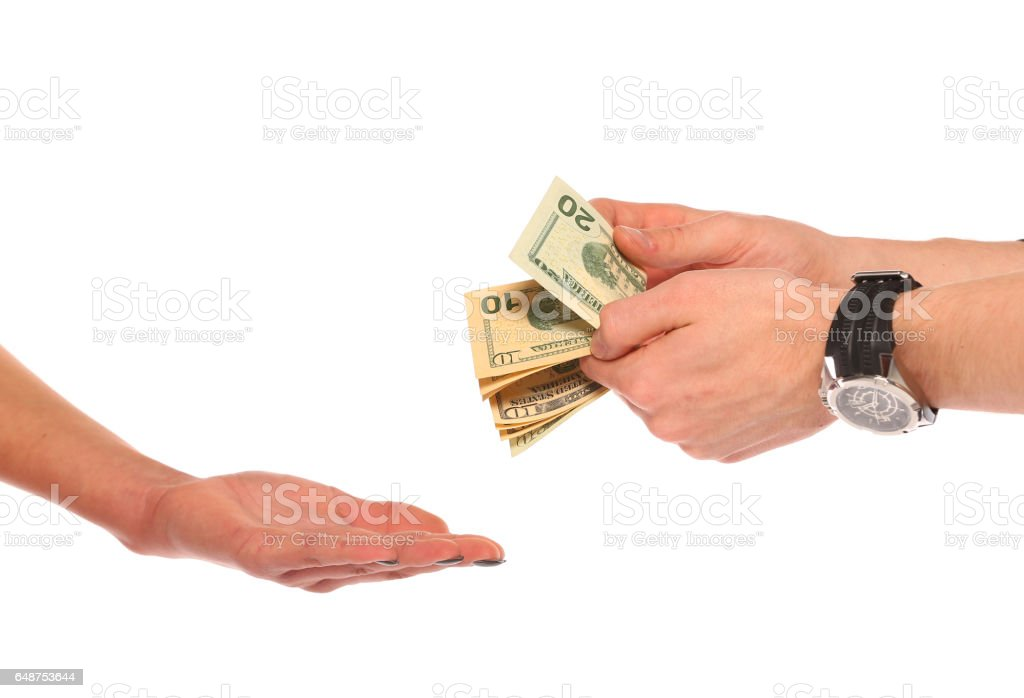 count dollar bills stock photo