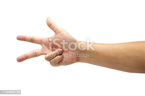 693519466 istock photo Count numeric of three symbol from hand. Isolated on white background with clipping path concept.Image. 1134605709