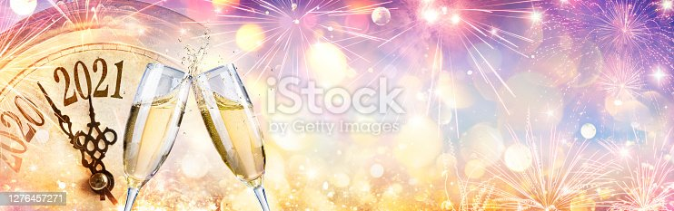 New Year 2021 - Countdown And Toast With Champagne And Clock