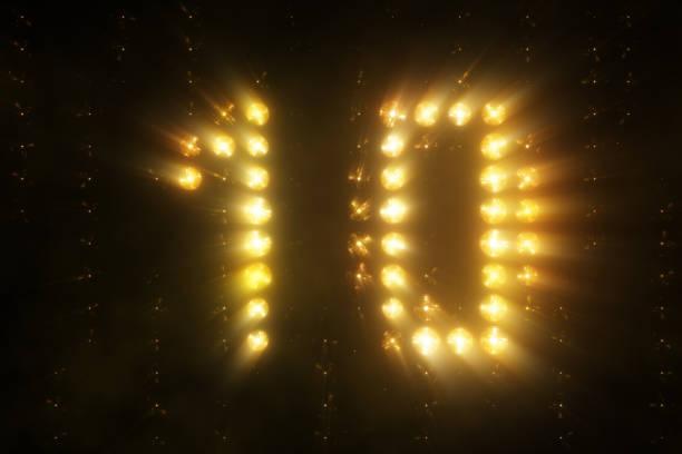 countdown lichter zähler flutlicht led timer von 10 3d illustration - led uhr stock-fotos und bilder