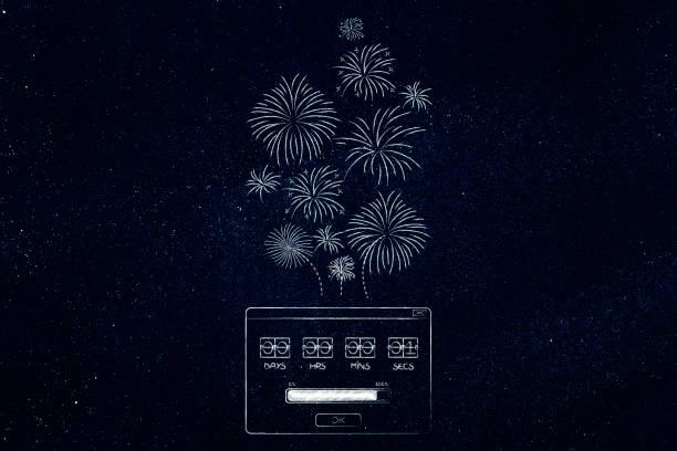 popup-meldung countdown timer mit einem feuerwerk aus ihm heraus fliegen - pop up stock-fotos und bilder