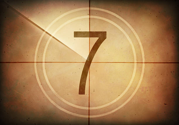 Countdown Seven Countdown on the old movie screen. High resolution image with detailed quality. number 7 stock pictures, royalty-free photos & images