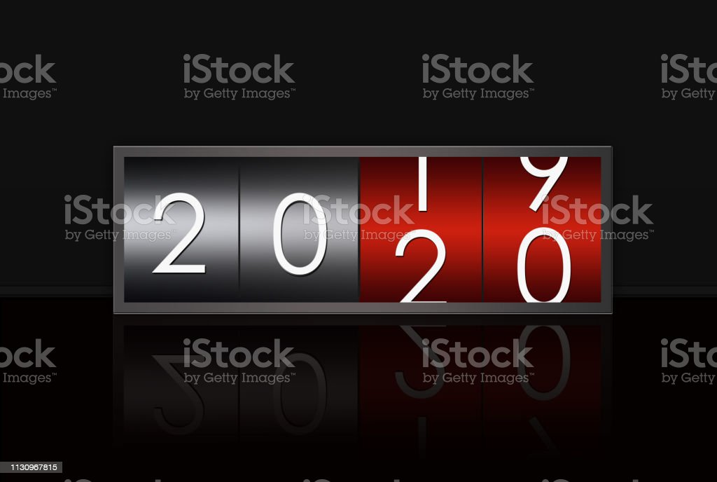 2020 countdown timer isolated on black background.