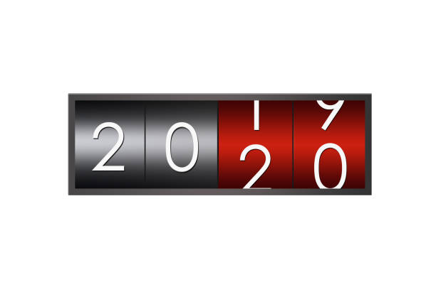 2020 countdown timer isolated on white background. stock photo