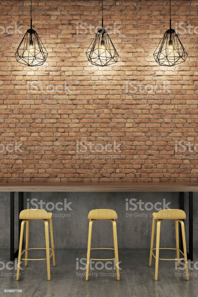 Counter bar with rustic brick wall. stock photo