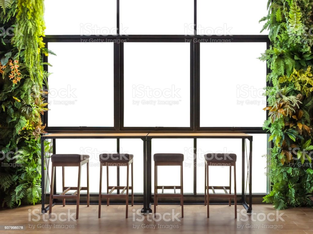 Counter bar with window view with ornamental shrubs, isolated on white background with clipping path