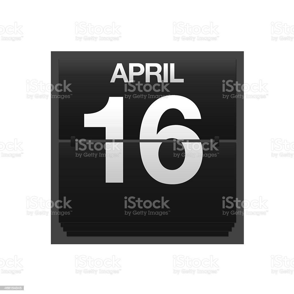 Counter calendar april 16. stock photo