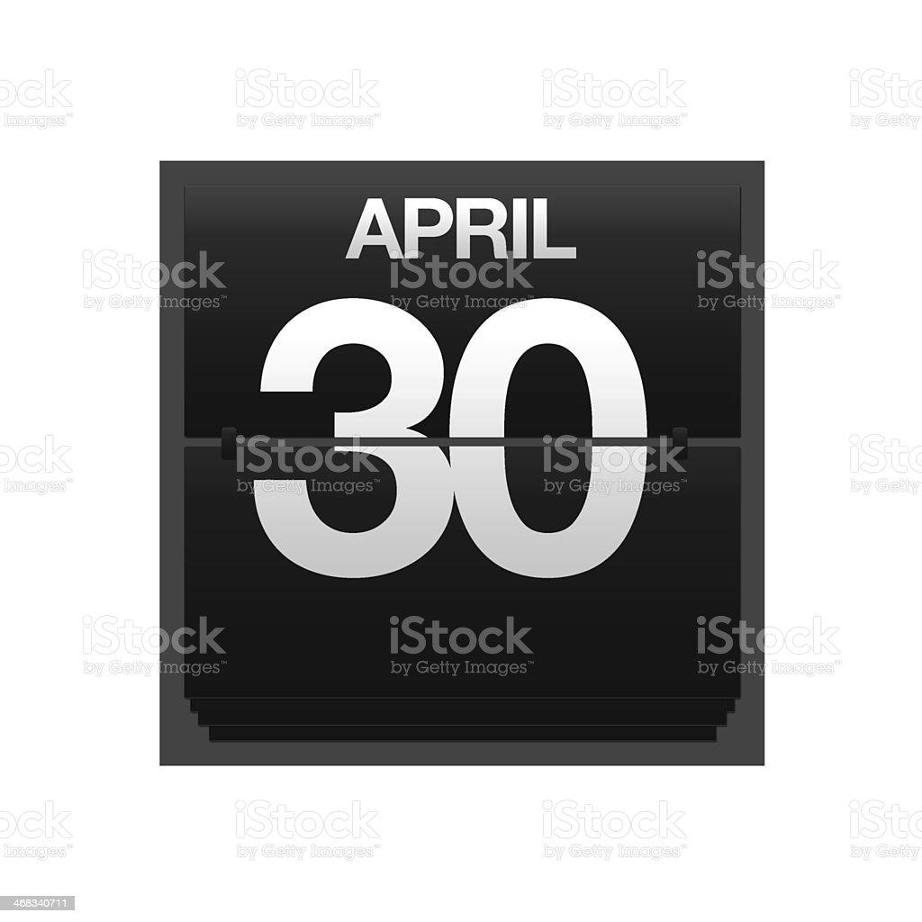 Counter calendar april 30. stock photo