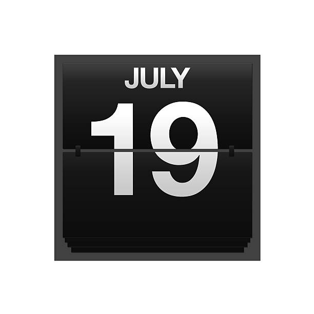 counter calendar july 19. - number 19 stock photos and pictures