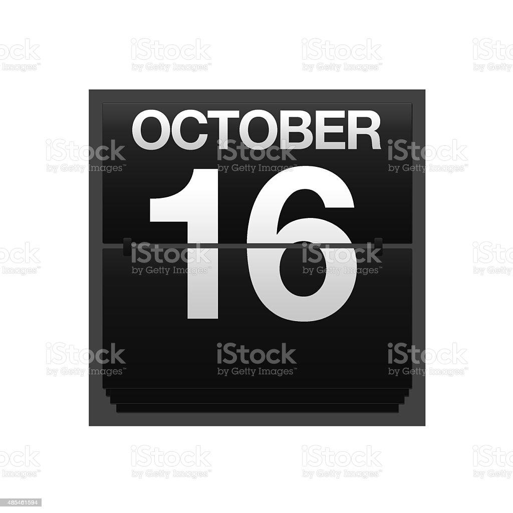 Counter calendar October 16. stock photo