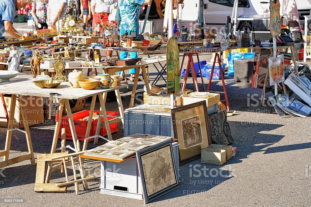 Counter in flea street market in Ascona stock photo