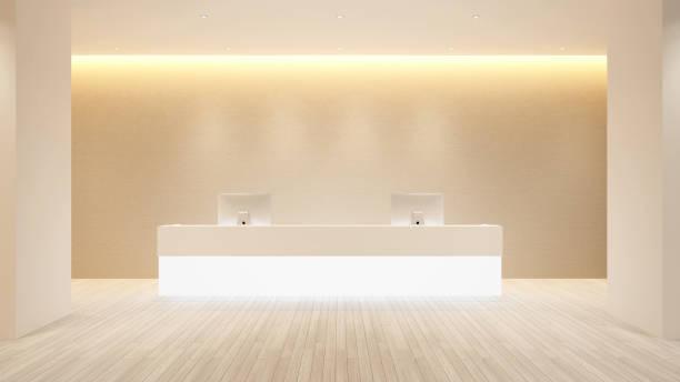 counter reception design for hotel or office - lobby hotel or information design for building artwork - 3d rendering - hotel reception zdjęcia i obrazy z banku zdjęć
