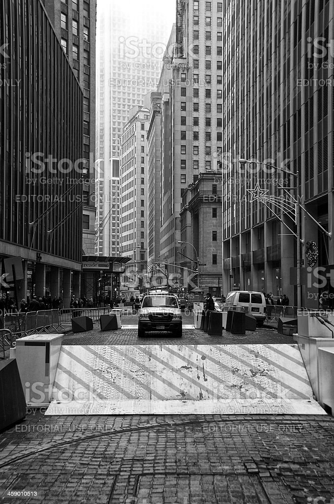 Counter Terror barrier, Van, Manhattan Financial District New York City royalty-free stock photo