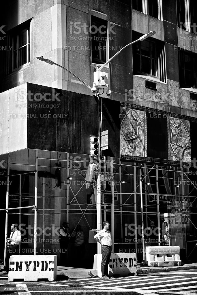 NYPD Counter Terror CCTV Cameras, People, Lexington Ave, Manhattan, NYC stock photo