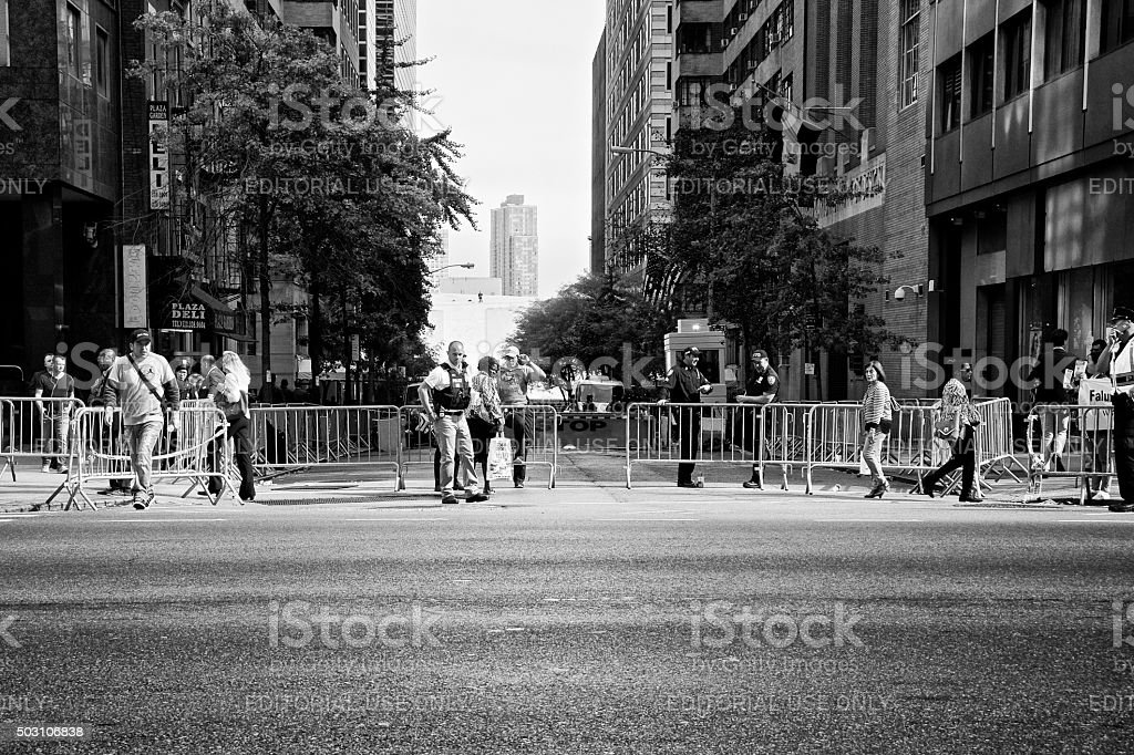 Counter Terror Security Barrier during United Nations Assembly events, NYC stock photo