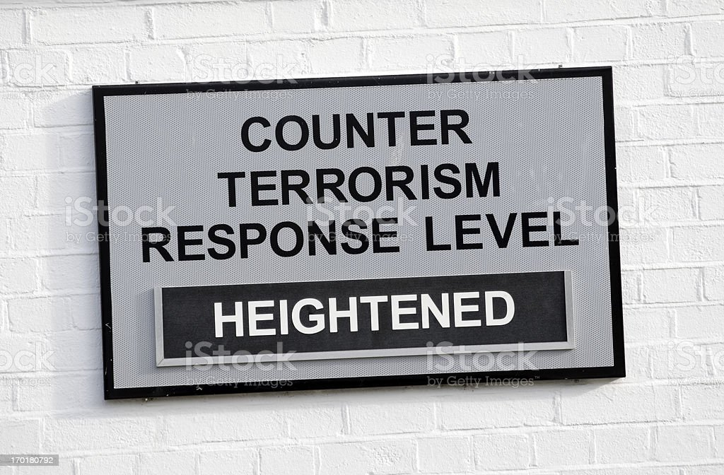 Counter Terrorism Response Level Heightened - sign royalty-free stock photo