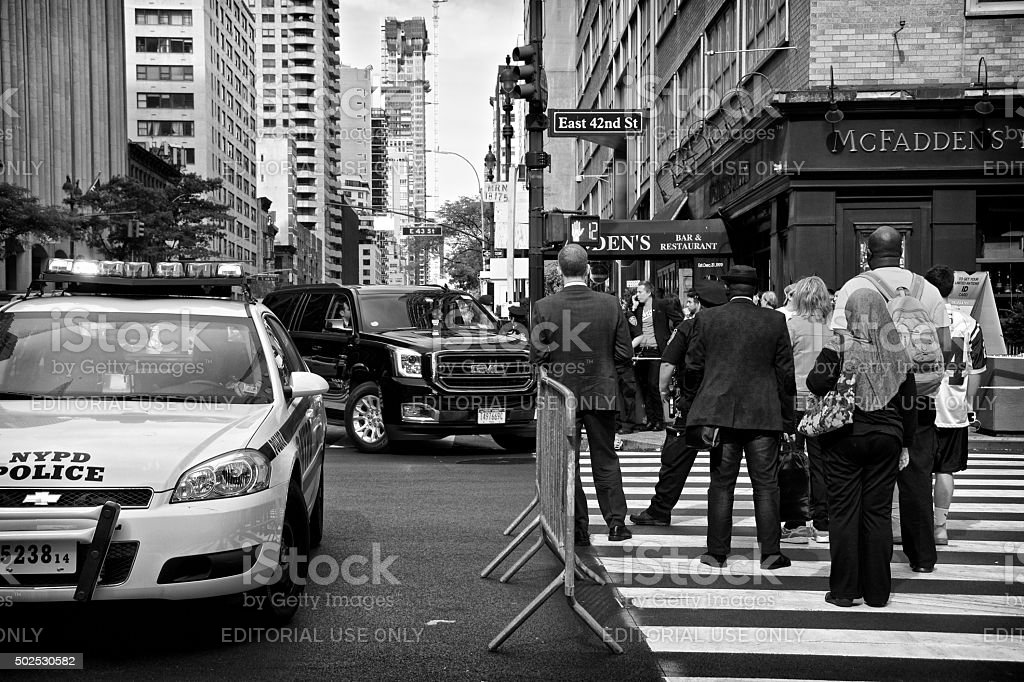 Counter Terrorism Security Checkpoint, People, 42nd Street, New York City stock photo