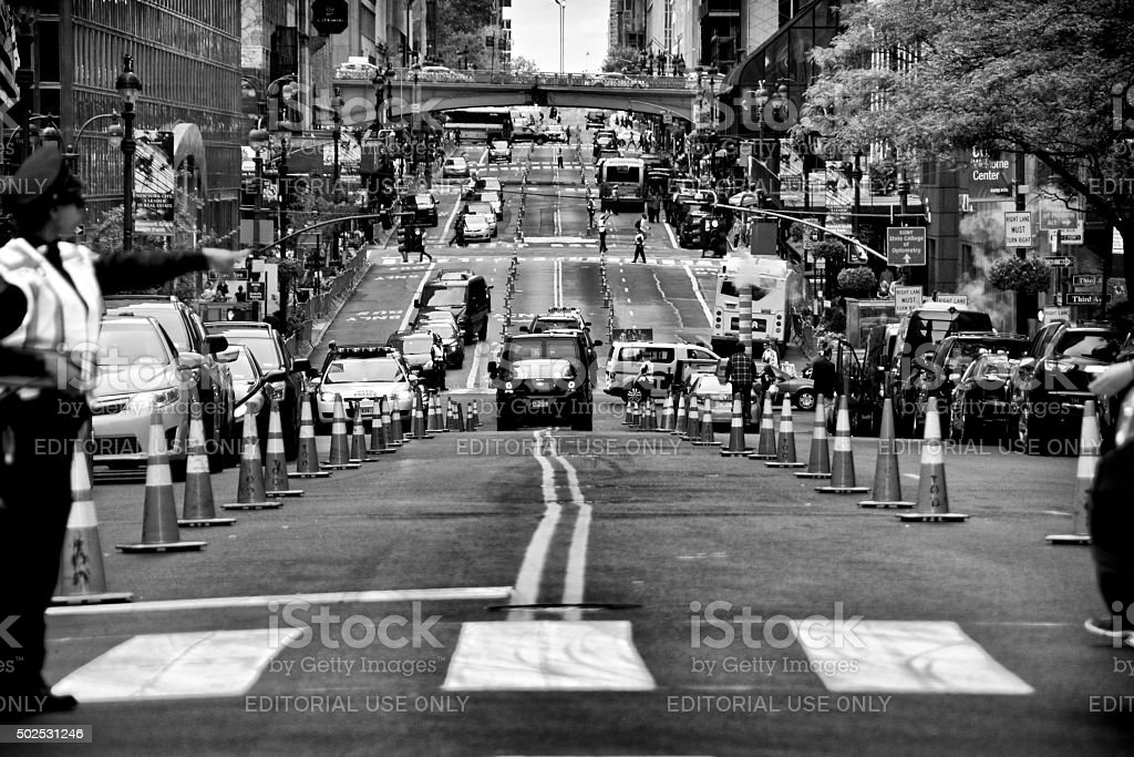 Counter Terrorism Security Vehicles Along 42nd Street, New York City stock photo