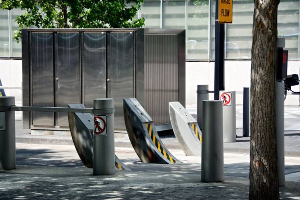 Counter Terrorism Vehicle Barriers at One World Trade Center, Lower Manhattan, New York City, USA stock photo