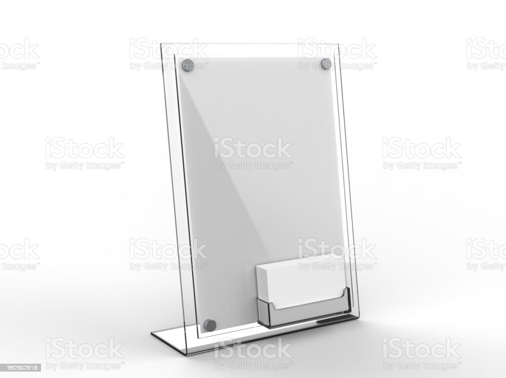 Counter Top Acrylic Sign Display With Calling Or Business Card Tray ...