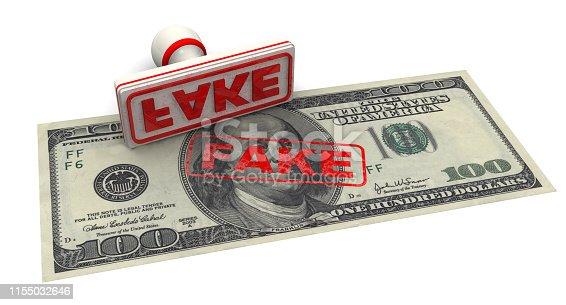 istock Counterfeit American Dollar Bill 1155032646