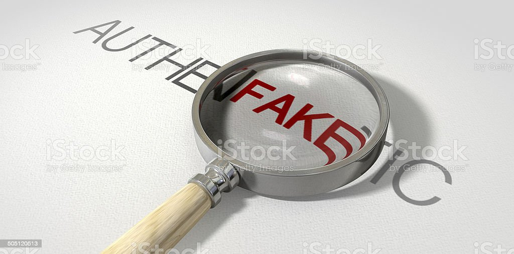 Counterfeit Authentic Magnified royalty-free stock photo