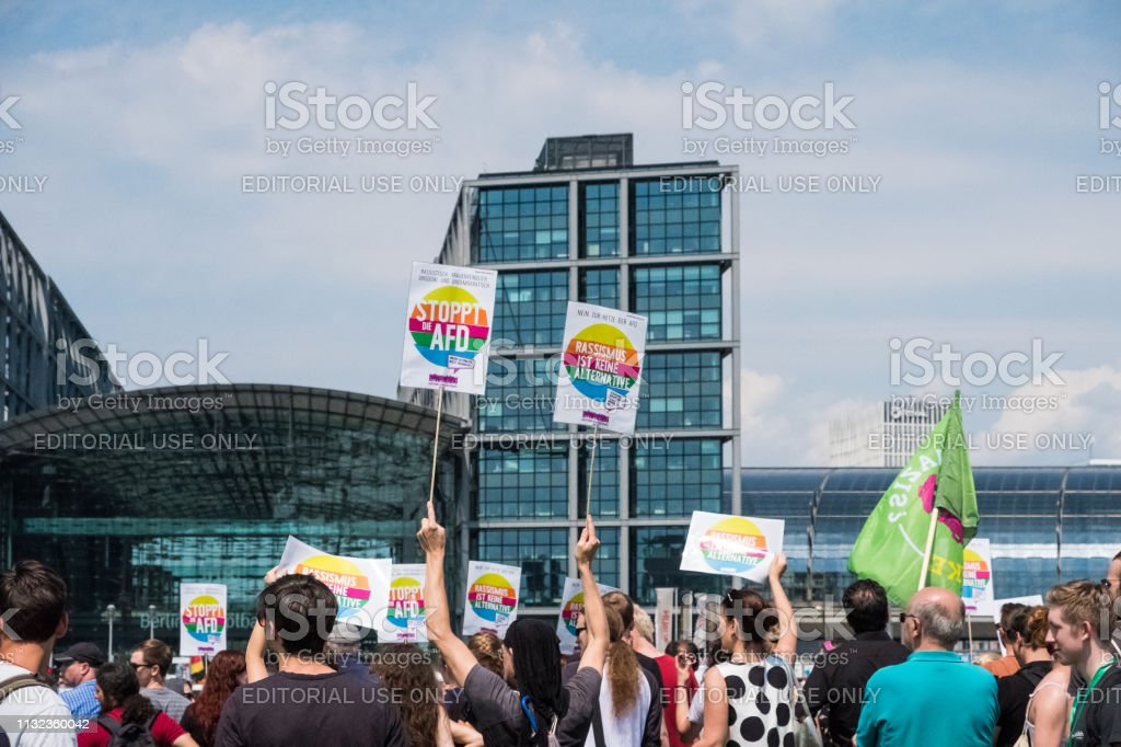 Counter-protest against the demonstration of the AFD / Alternative for Germany (German: Alternative für Deutschland, AfD), a right-wing to far-right political party in Germany stock photo