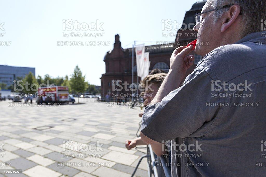Counterprotestors against Neonazi speech stock photo